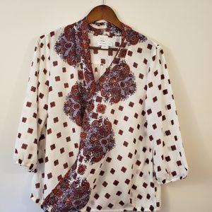 Liz Claiborne v-neck paisley blouse size medium